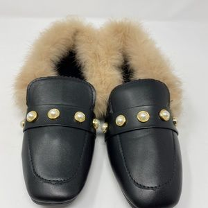 Womens Faux Leather Fur Flats Pearls Slip On 7